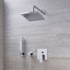 "Arcadia Chrome Shower System with 8"" Shower Head and Handshower"