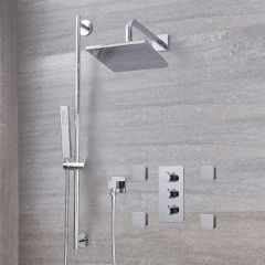 "Arcadia Thermostatic Chrome Shower System with 8"" Shower Head, Slide Rail Kit and 4 Body Sprays"