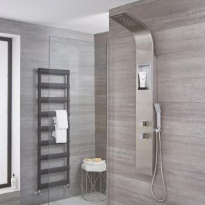 Morton - Stainless Steel Thermostatic Waterfall Shower Panel with Integrated Storage