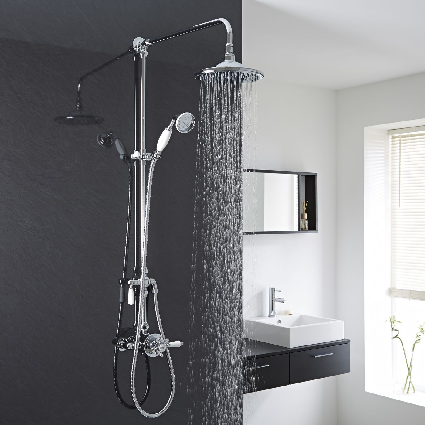 Traditional Exposed Dual Control Thermostatic Shower Faucet Valve With Grand Kit