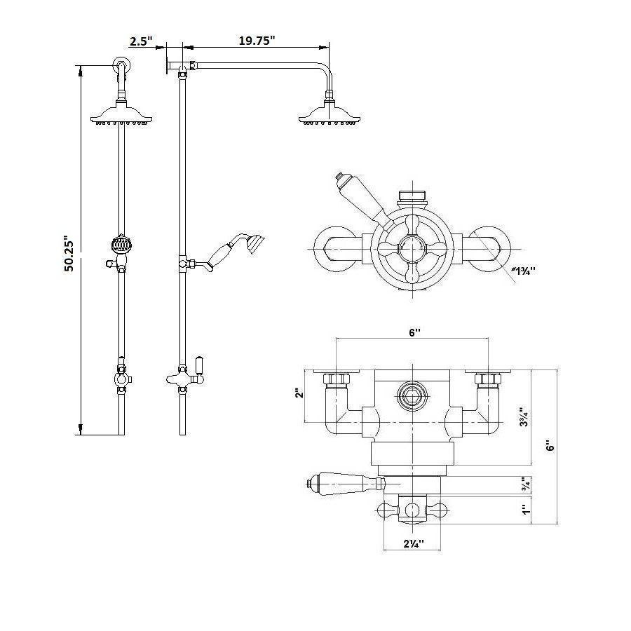 Traditional Exposed Dual Control Thermostatic Shower Faucet Valve