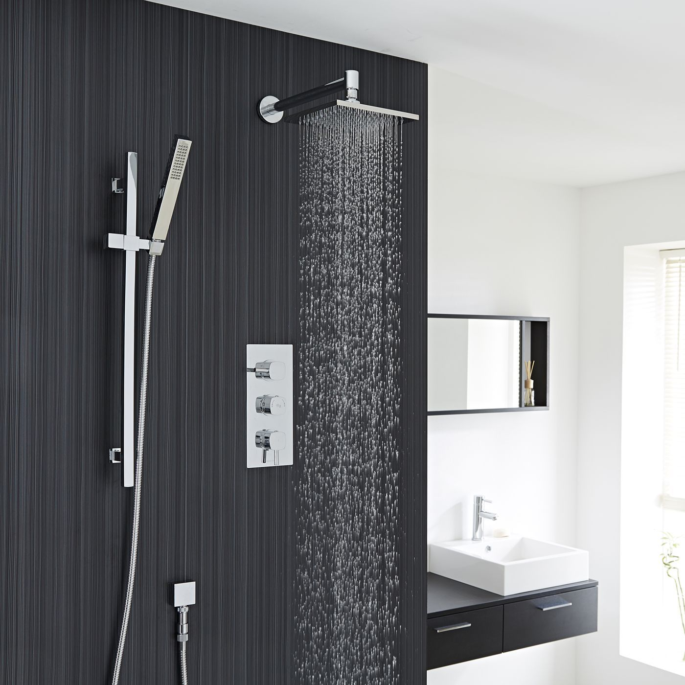 Chrome Square Shower System With Slide Rail Kit Thermostatic Triple Faucet Valve And Overhead Head