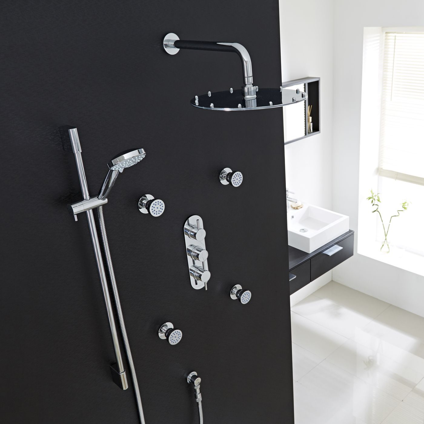 Quest Thermostatic Shower System With 12 Round Head Arm Multi Function Handset 4 Jet Sprays