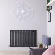 "Sloane - Anthracite Horizontal Single Flat-Panel Designer Radiator - 25"" x 39.25"""