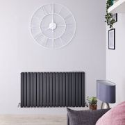 "Sloane - Anthracite Horizontal Double Flat-Panel Designer Radiator - 25"" x 47.25"""