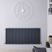 "Revive - Anthracite Horizontal Double-Panel Designer Radiator - 25"" x 55.5"""