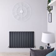 "Delta - Anthracite Horizontal Double Slim-Panel Designer Radiator - 25"" x 38.5"""