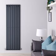 "Delta - Anthracite Vertical Single Slim-Panel Designer Radiator - 63"" x 22"""