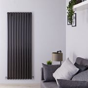 "Revive - Black Vertical Double-Panel Designer Radiator - 63"" x 23.25"""
