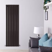 "Delta - Black Vertical Double Slim-Panel Designer Radiator - 63"" x 22"""