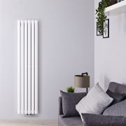 "Revive Centrix - White Vertical Double-Panel Designer Radiator - 63"" x 14"""