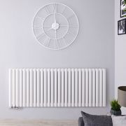 "Revive Centrix - White Horizontal Double-Panel Designer Radiator - 25"" x 64.75"""