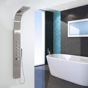 Thermostatic Shower Panel with Waterfall Head - Stainless Steel