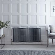 "Regent - Anthracite Horizontal 3-Column Traditional Cast-Iron Style Radiator - 23.5"" x 47"""