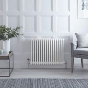 "Regent - White Horizontal 3-Column Traditional Cast-Iron Style Radiator - 23.5"" x 31"""