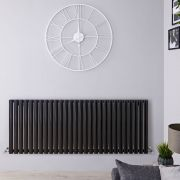 "Revive - Black Horizontal Single-Panel Designer Radiator - 25"" x 64.75"""