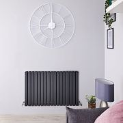 "Sloane - Anthracite Horizontal Double Flat-Panel Designer Radiator - 25"" x 39.25"""