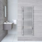 "Etna - Hydronic Chrome Curved Heated Towel Warmer - 59"" x 19.75"""
