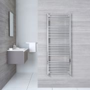 "Etna - Hydronic Chrome Curved Heated Towel Warmer - 59"" x 23.5"""