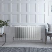 "Regent - White Horizontal 3-Column Traditional Cast-Iron Style Radiator - 23.5"" x 45.75"""