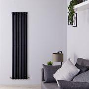 "Edifice - Black Vertical Single-Panel Designer Radiator - 70"" x 16.5"""