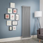 Regent - Metallic Silver Vertical 3-Column Traditional Cast-Iron Style Radiator - All Sizes