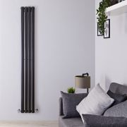 "Revive - Black Vertical Single-Panel Designer Radiator - 70"" x 9.25"""