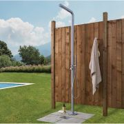 Lugo - Freestanding Outdoor Shower with Handshower - Brushed Steel