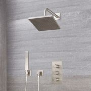 "Arcadia Thermostatic Brushed Nickel Shower System with 8"" Shower Head and Handshower"