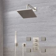 "Arcadia Thermostatic Brushed Nickel Shower System with 8"" Shower Head, Handshower and 4 Body Sprays"