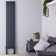 "Revive Plus - Anthracite Vertical Double-Panel Designer Radiator - 78.75"" x 14"""