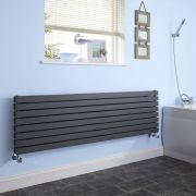 "Sloane - Anthracite Horizontal Double Flat-Panel Designer Radiator - 18.5"" x 70"""