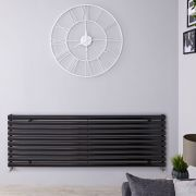 "Revive - Black Horizontal Single-Panel Designer Radiator - 23.25"" x 70"""
