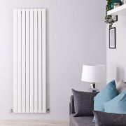 "Delta - White Vertical Single Slim-Panel Designer Radiator - 70"" x 22"""