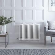 "Regent Electric - White Horizontal 3-Column Traditional Cast-Iron Style Radiator - 23.5"" x 31"""