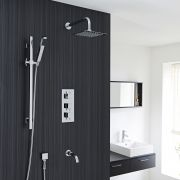 Thermostatic Shower System with Curved Arm, Handset Kit & Tub Spout