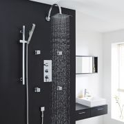 Thermostatic Shower System with Curved Arm, Slider Kit & 4 Body Jets