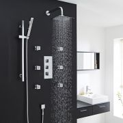 Thermostatic Shower System with Slider Rail Kit, Wall Arm & 6 Body Jets