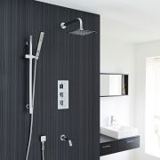 Thermostatic Shower System with Hand Shower and Bath Tub Spout
