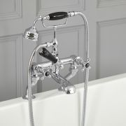 Elizabeth - Traditional Deck Mounted Cross Handle Tub Faucet with Telephone Style Hand Shower - Chrome/Black