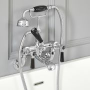 Elizabeth - Traditional Wall Mounted Tub Faucet with Telephone Style Hand Shower - Chrome/Black