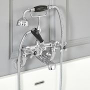 Elizabeth - Traditional Wall Mounted Cross Handle Tub Faucet with Telephone Style Hand Shower - Chrome/Black