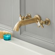 Elizabeth - Traditional Wall Mounted Widespread Tub Faucet - Antique Brass
