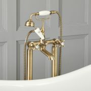 Elizabeth - Traditional Freestanding Tub Faucet with Telephone Style Hand Shower - Antique Brass