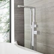 Kubix - Chrome Freestanding Tub Faucet with Hand Shower