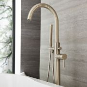 Quest - Brushed Nickel Freestanding Tub Faucet with Hand Shower