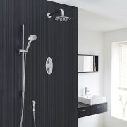 "Quest Thermostatic 2 Outlet Shower System with 8"" Head with Wall Arm & Multi-function Handshower"