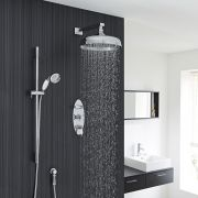 "Beaumont Thermostatic Shower System with 12"" Apron with Wall Arm & Handset"