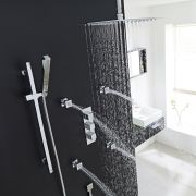 "Kubix Thermostatic Shower System with 12"" Square Ceiling Head , Handshower & 4 Square Jet Sprays"