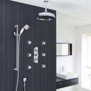 "Beaumont Thermostatic Shower System with 12"" Apron Head & Ceiling Arm , Brass Handset & 6 Round Jet Sprays"
